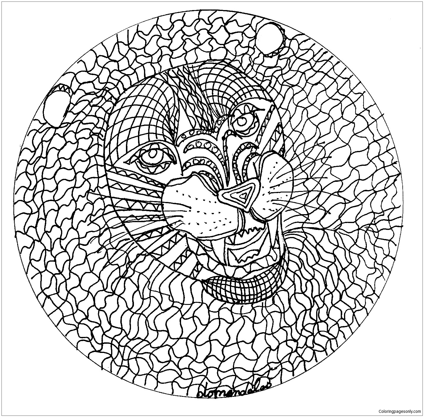 Mandala With Lion S Head Coloring Page Free Coloring