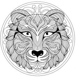 Mandala with Tiger head – 1 Coloring Page