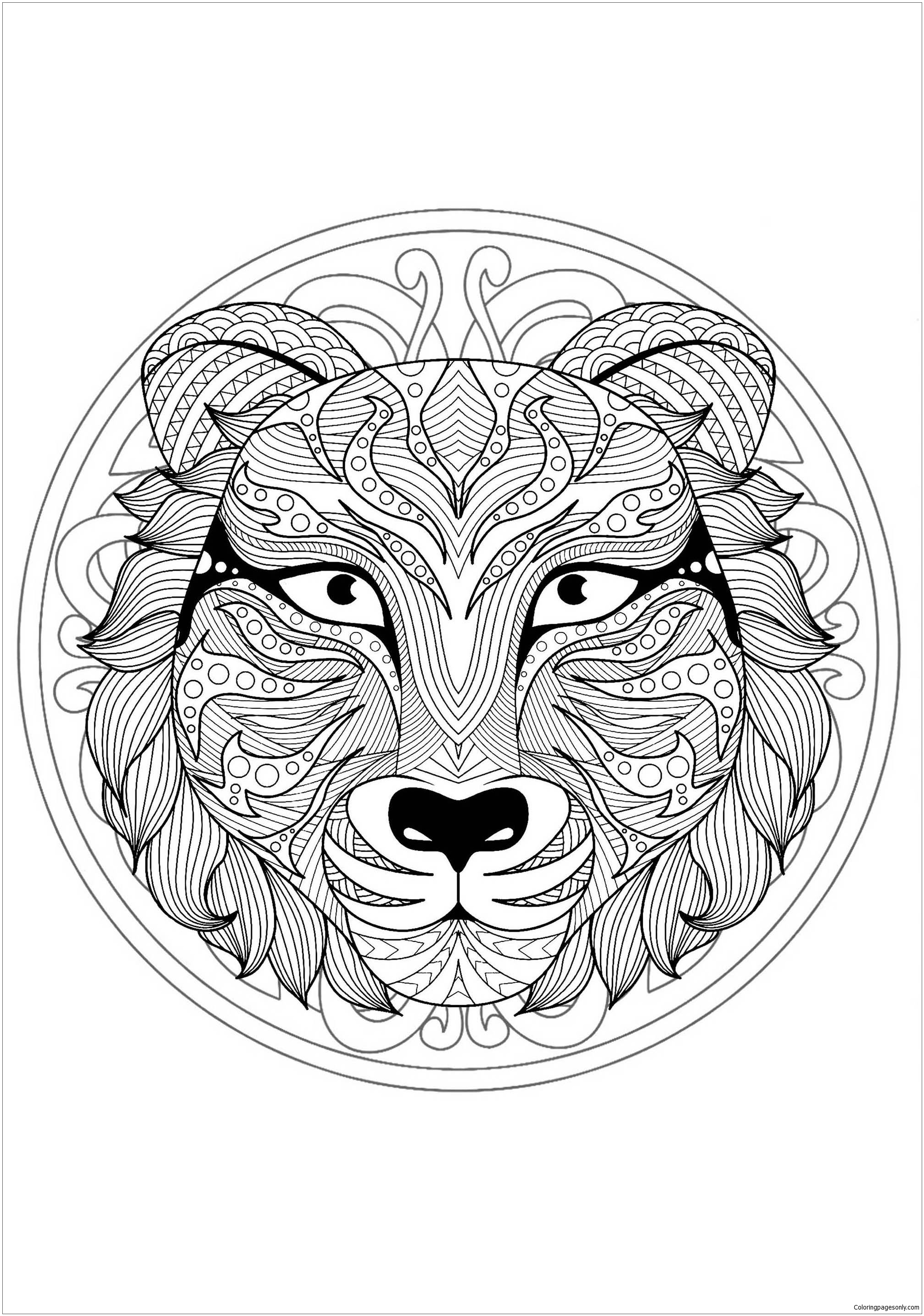 Mandala With Tiger Head - 1 Coloring Page