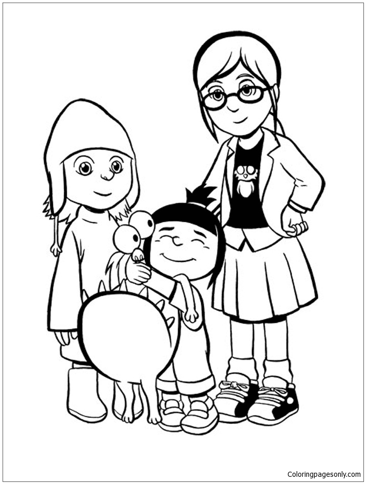 Margo, Agnes, Edith And Kyle Coloring Page