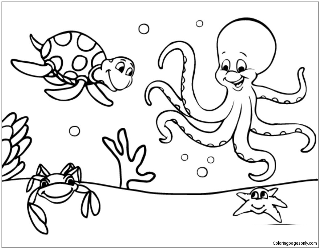 Marine Life Under The Ocean Floor Coloring Page Free