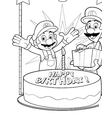 Mario and Luigi Birthday Coloring Page
