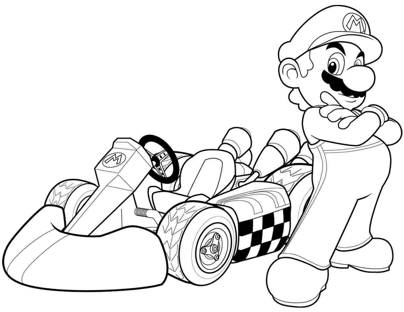 Mario and racing car in Mario Kart Wii Coloring Page