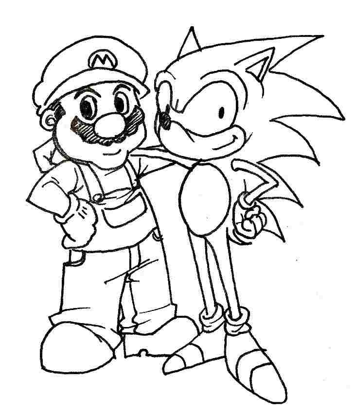 Mario and Sonic are best friends forever Coloring Page