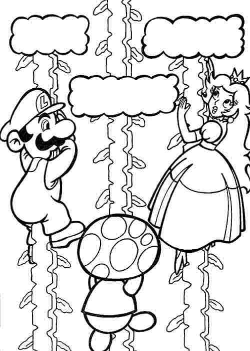Mario is saving Princess Peach, Luigi and Toad in Mario Party Games Coloring Page