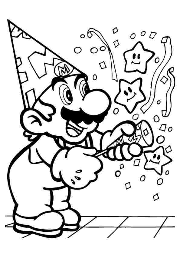 Mario take firework to happy birthday Coloring Page