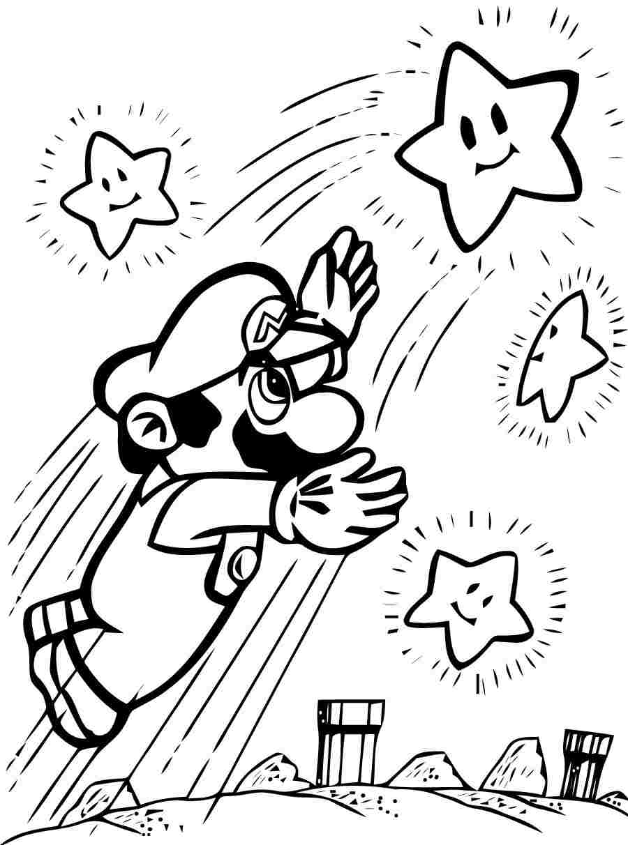 Mario tries to catch some stars Coloring Page