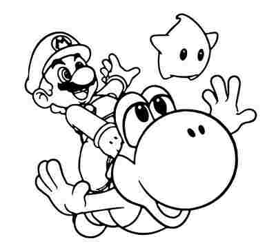 Mario, Yoshi and Luma are playing  together Coloring Page