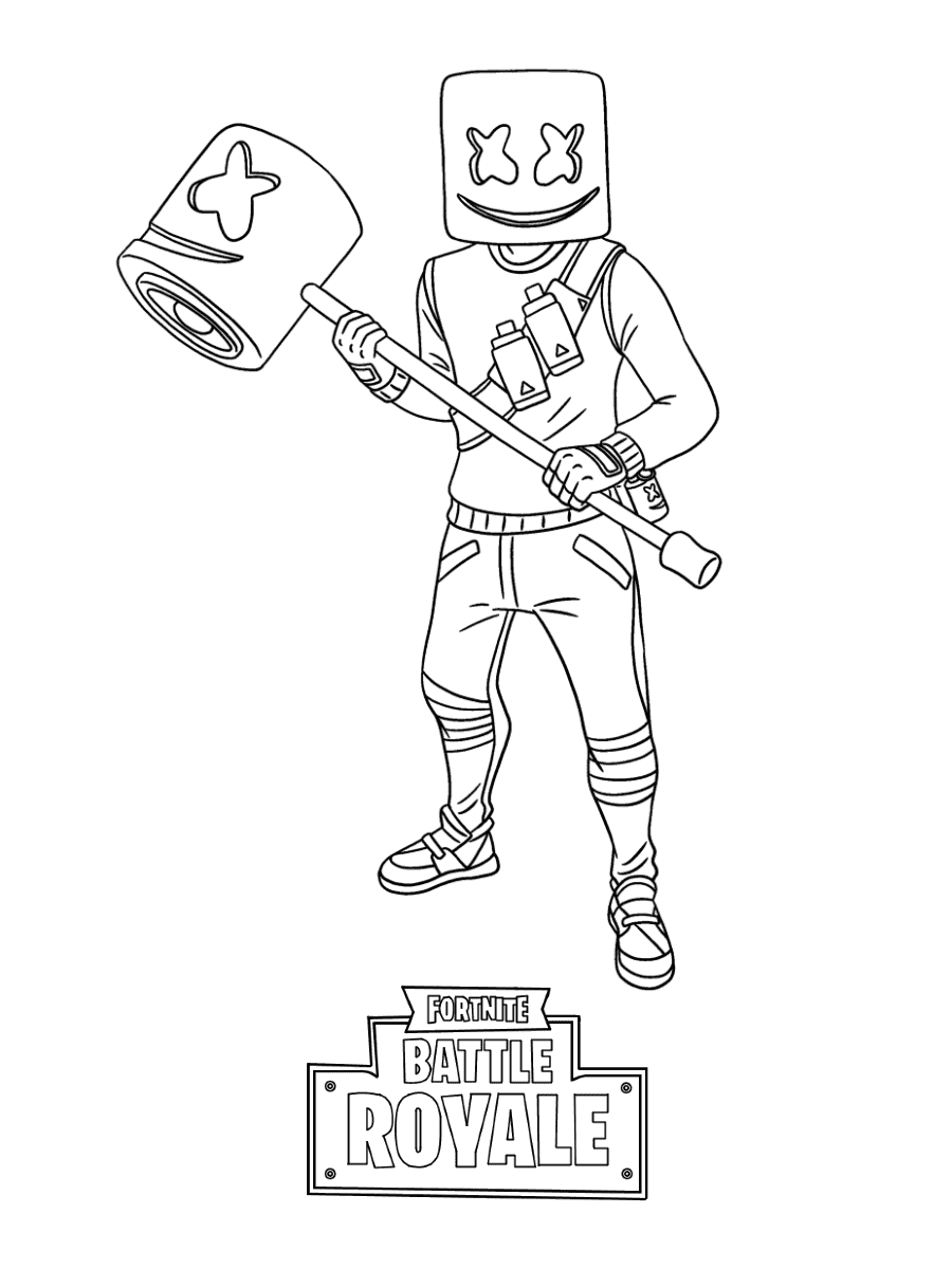 Marshmello is holding Marshmello Hammer in Fortnite Coloring Page
