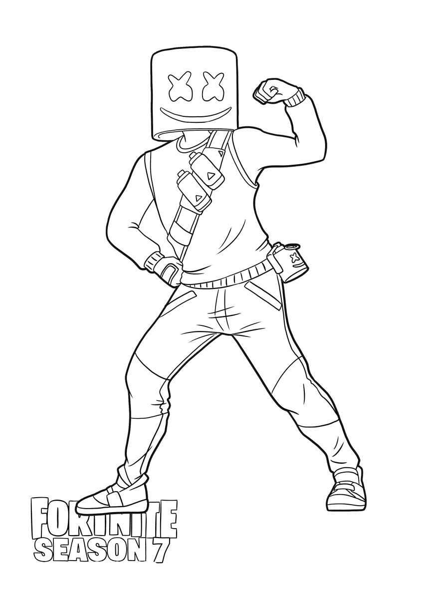Marshmello shows his strength in Fortnite Season 7 Coloring Page