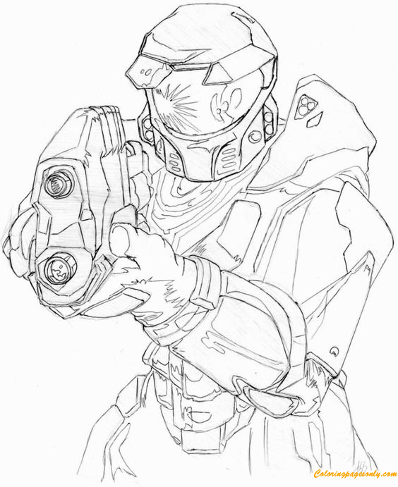 Master Chief Of Halo Coloring Page Free Coloring Pages