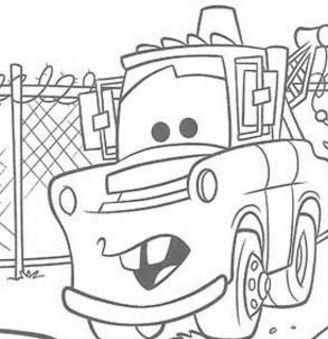 Mater And A Police Car Coloring Page