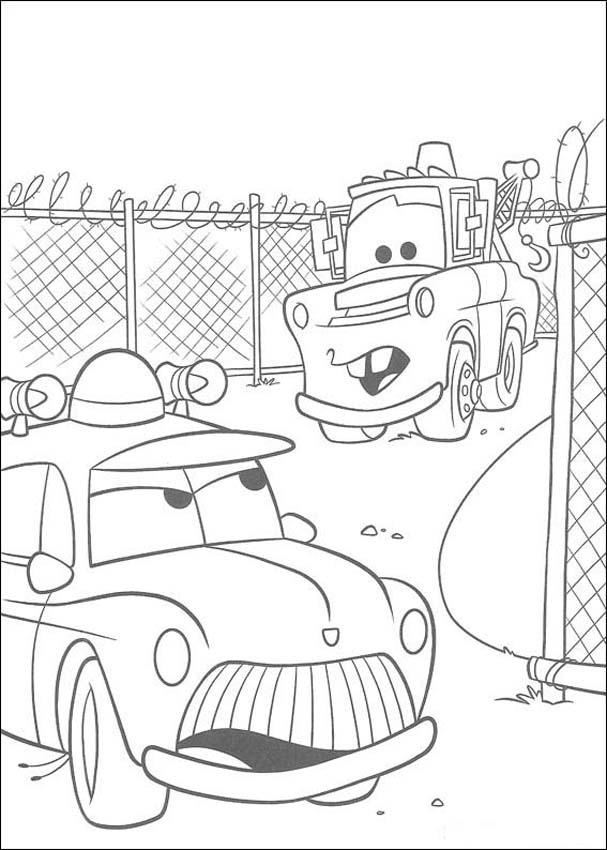Mater And A Police Car Coloring Pages