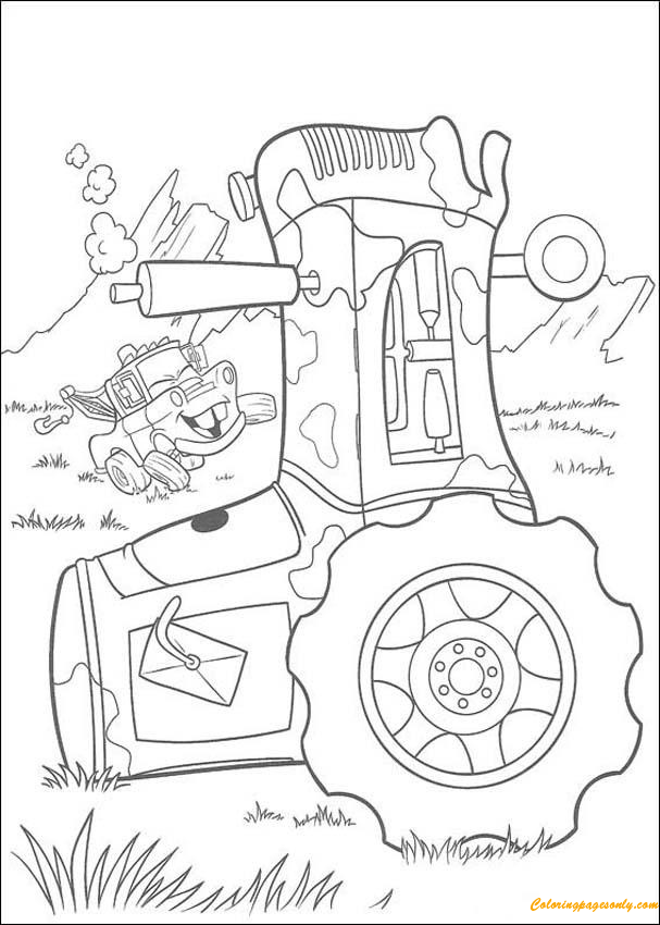 Mater Goes Tractor Tipping Coloring Page Free Coloring Pages Online