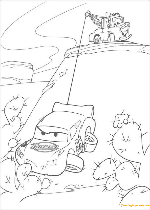 Mater Saves Lightning McQueen Coloring Page Free Coloring Pages