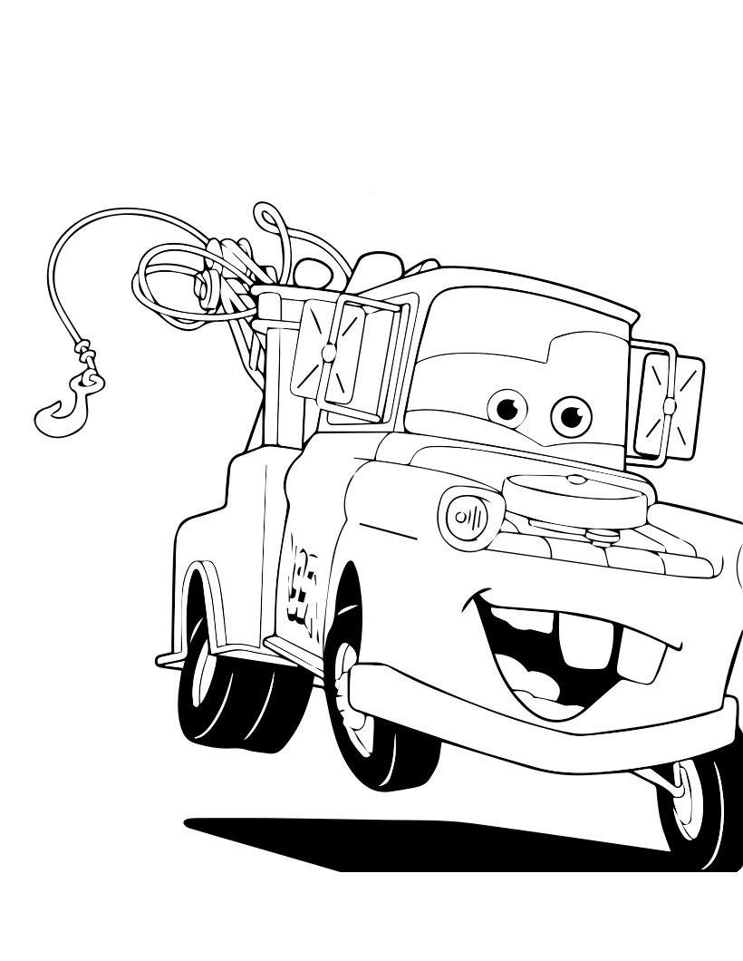 Mater The Tow Truck Cars Coloring Page