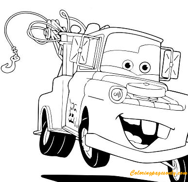Free Printable Tow Mater Coloring Page For Kids | Cars coloring ... | 375x387