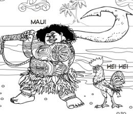 Maui and Hei Hei From Moana Coloring Page