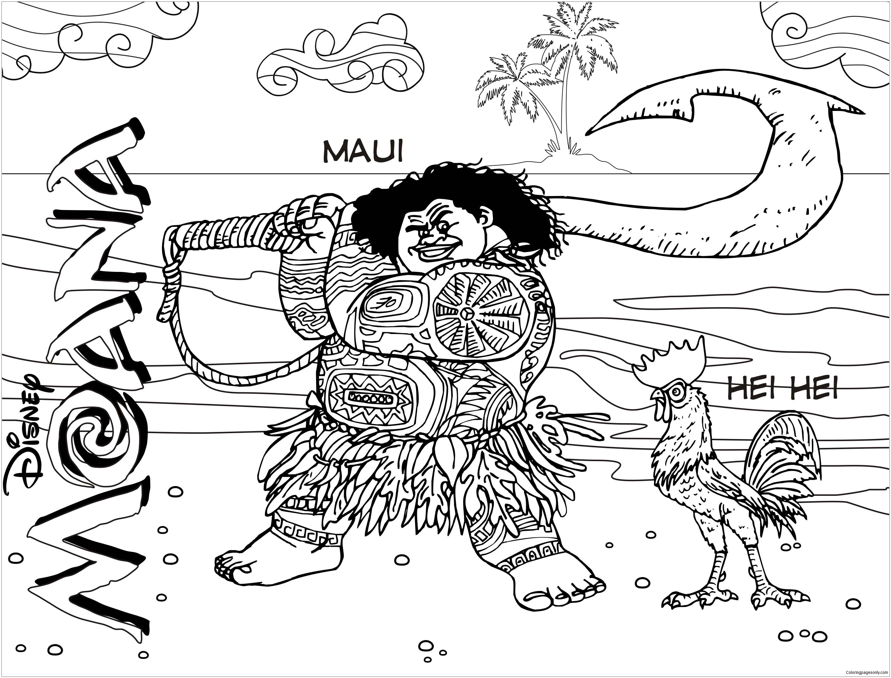 Maui And Hei From Moana