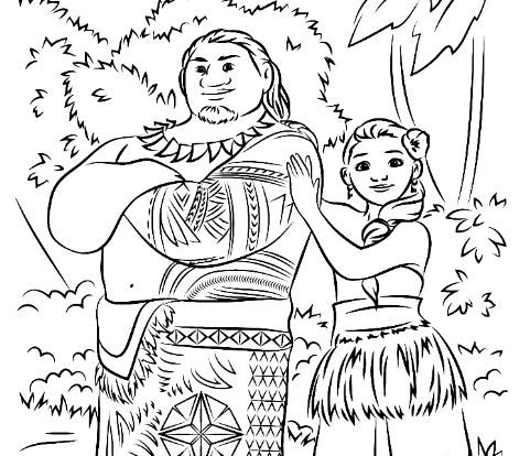 Maui And Moana In Forest