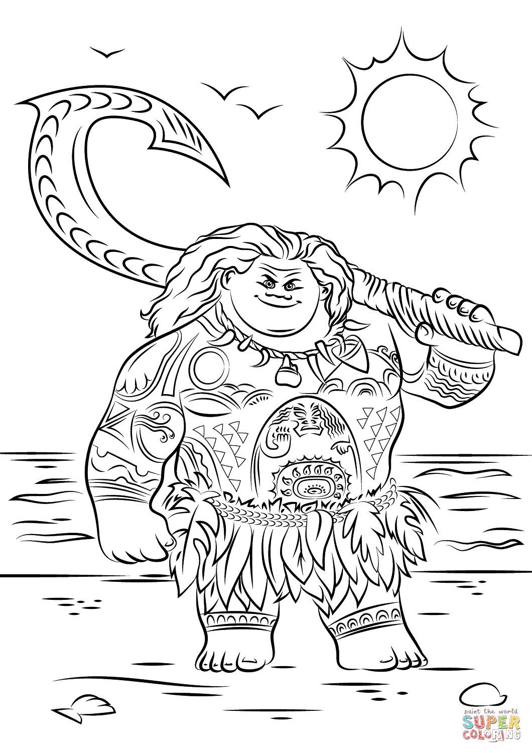 Maui from Moana from Moana Coloring Pages