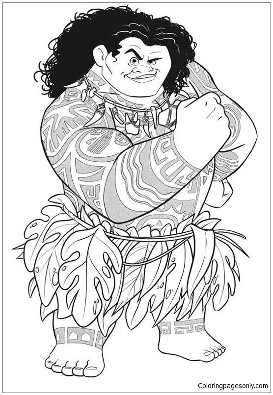 Maui From Moana Disney Coloring Pages