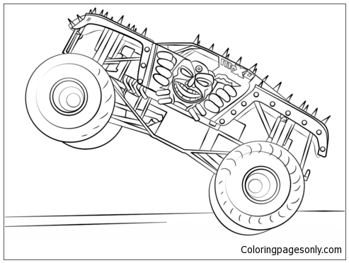 It is an image of Free Printable Monster Truck Coloring Pages for monster machine