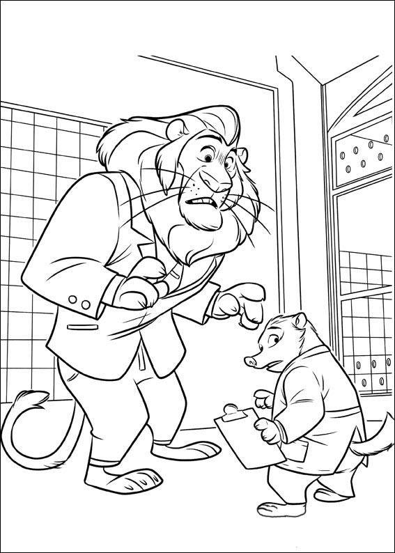 Mayor Lionheart and Mr. Big Coloring Page