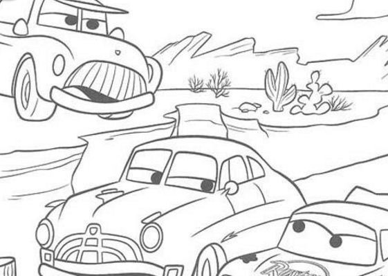 McQueen And Doc Racing Coloring Page