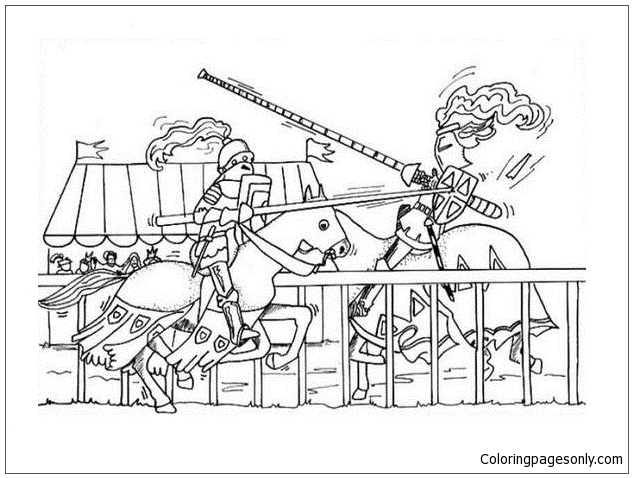Medieval Fight Coloring Page