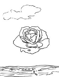 Meditative Rose By Salvador Dali Coloring Page