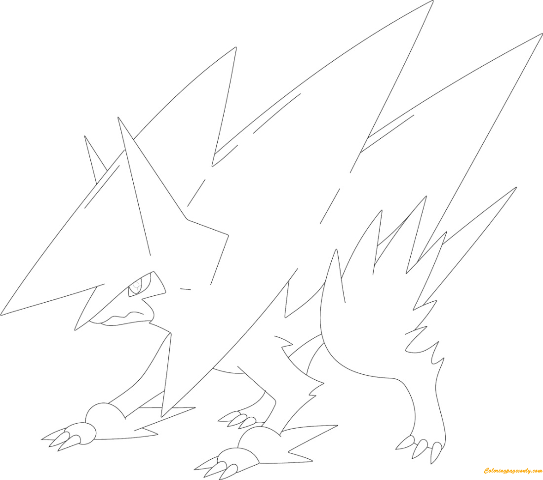 Mega Manectric Pokemon Coloring Page