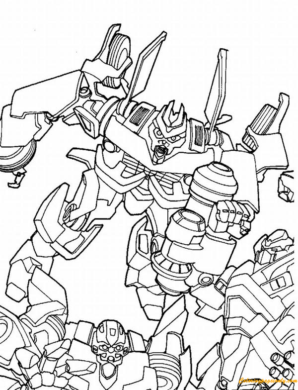 megatron fighting bumblebee coloring page - Bumblebee Coloring Page