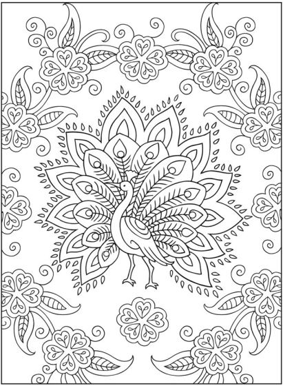 Mehndi Designs Peacock Coloring Page