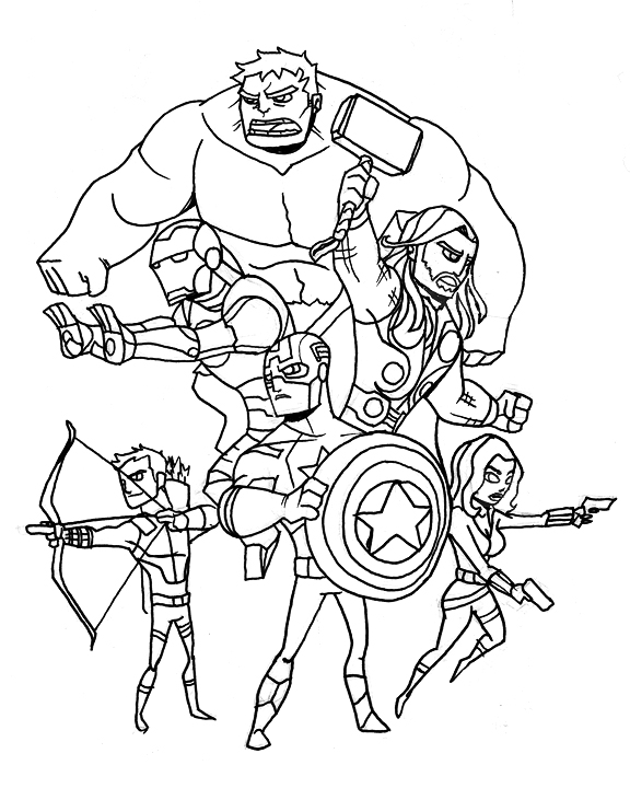 Members of Avengers Coloring Page