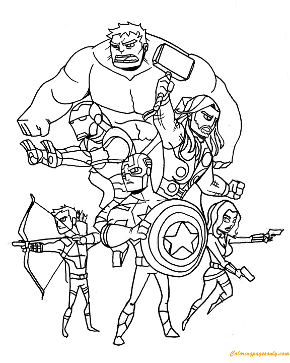 Members of Avengers Coloring Page Free Coloring Pages Online