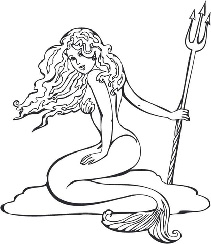 Mermaid holding a pitchfork