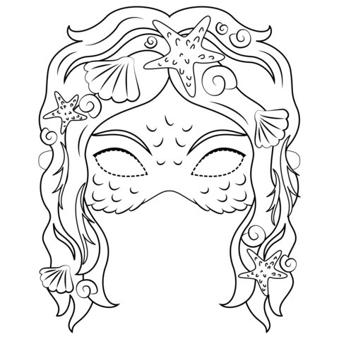 Mermaid mask Coloring Page