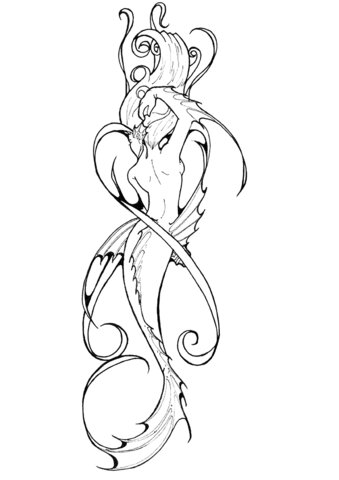 Mermaid tattoo Coloring Page