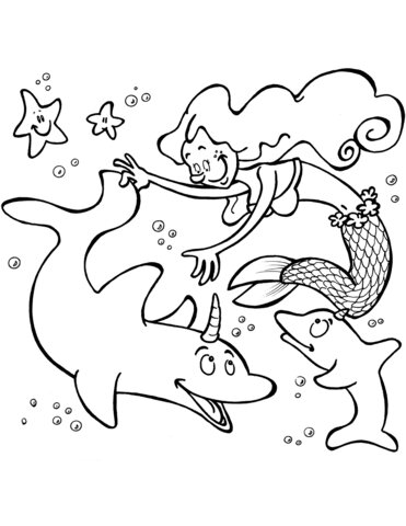 Mermaid unicorn dolphines Coloring Page