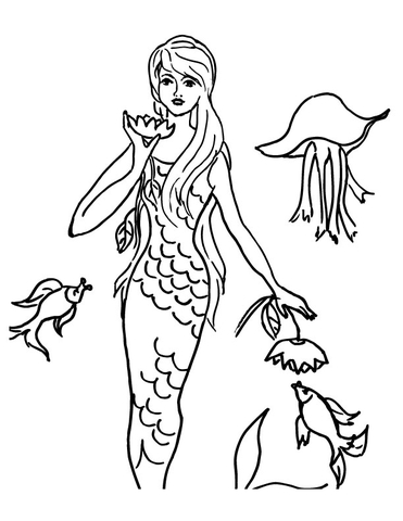 Mermaid with fish Coloring Page