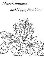 Merry Christmas and Happy New Year with Poinsettia Flower  Coloring Page