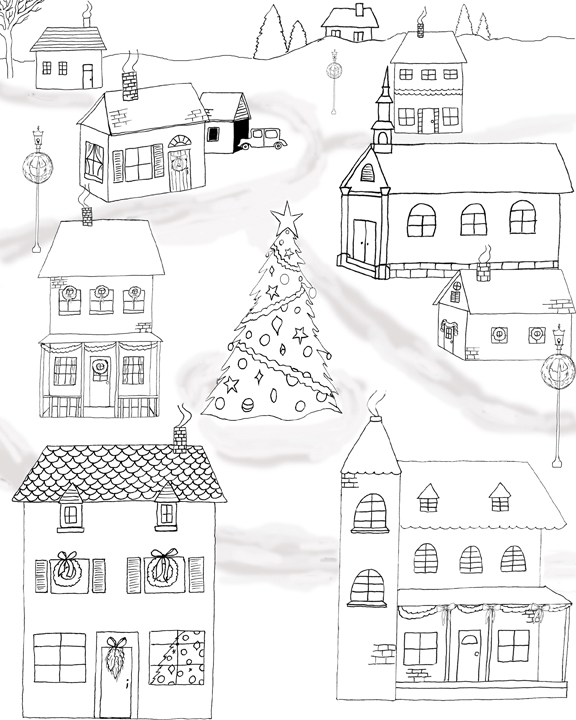 Merry Christmas House Coloring Page