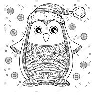 Merry Christmas Jolly Penguin Coloring Page