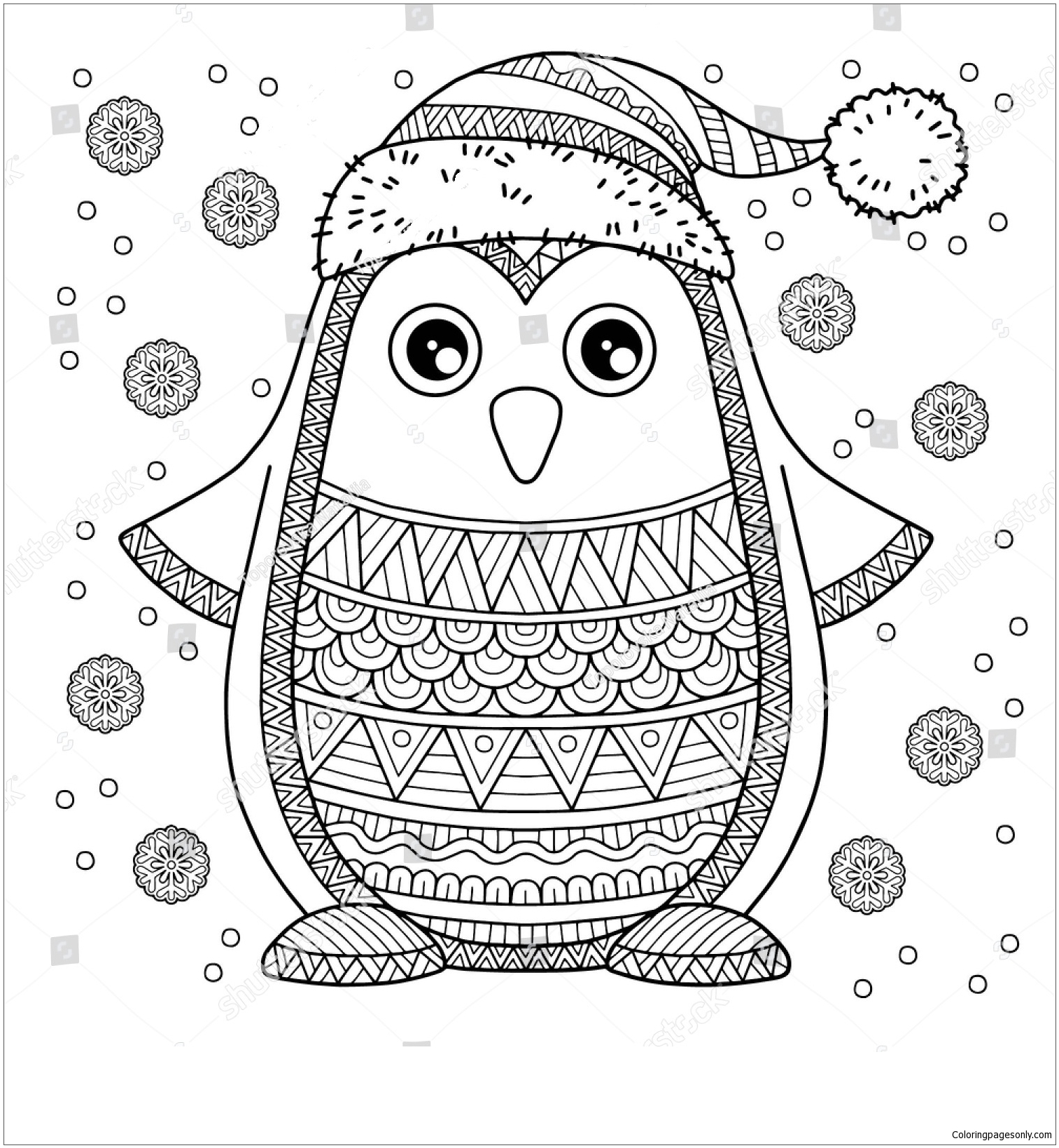 Merry Christmas Jolly Penguin Coloring