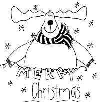 Merry Christmas Reindeer Coloring Page