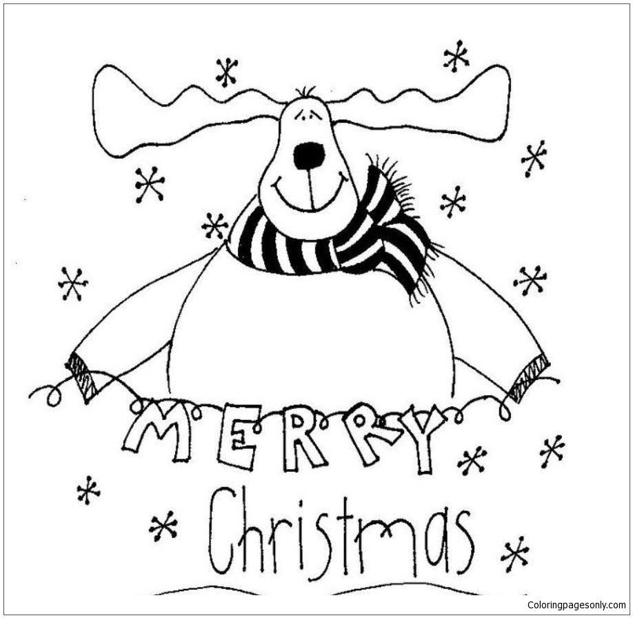 Merry Christmas Reindeer Coloring Page - Free Coloring Pages ...