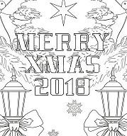 Merry Xmas 2018 Coloring Page
