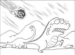 Meteorite crashed into the dinosaur Coloring Page