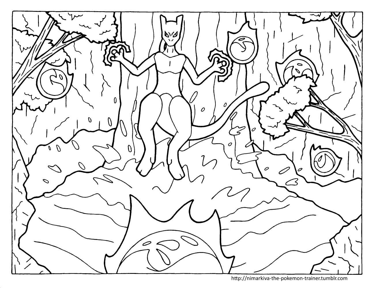 Mewtwo at the waterfall Coloring Page